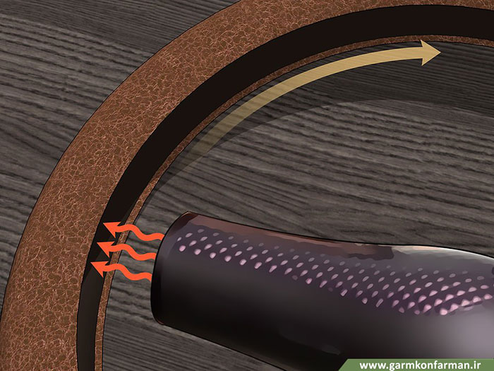 مرحله اول نصب روکش گرمکن فرمان خودرو